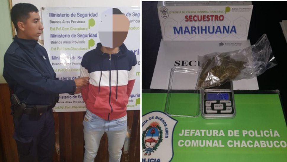 Aprehenden a un joven con marihuana en su poder