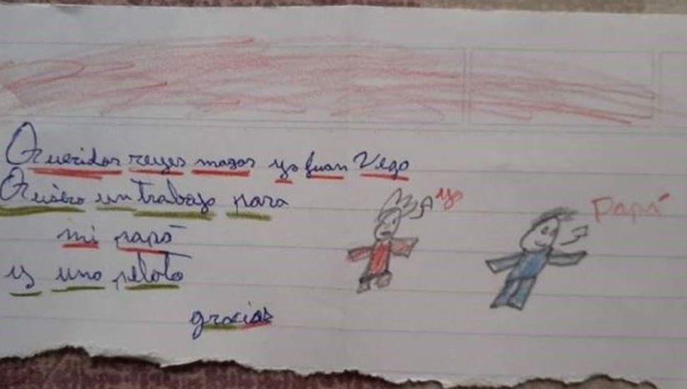 Conmovedor: un nene le escribió una carta a los Reyes pidiendo un trabajo para su papá