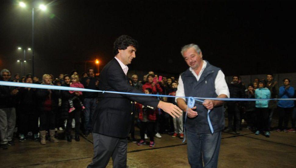 Hernán Lacunza y Claudio Rossi durante la inauguración.