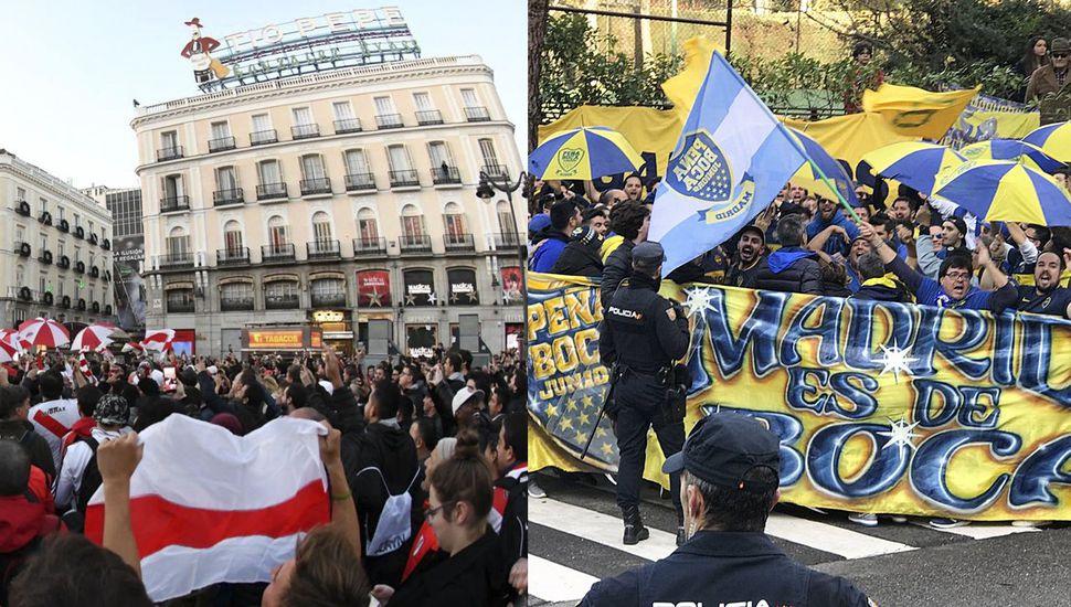 Hinchas de River y Boca realizaron dos banderazos en Madrid