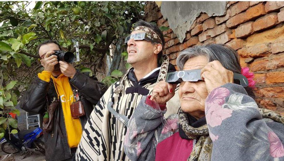 La comunidad mapuche de Junín también vivió el evento astronómico.
