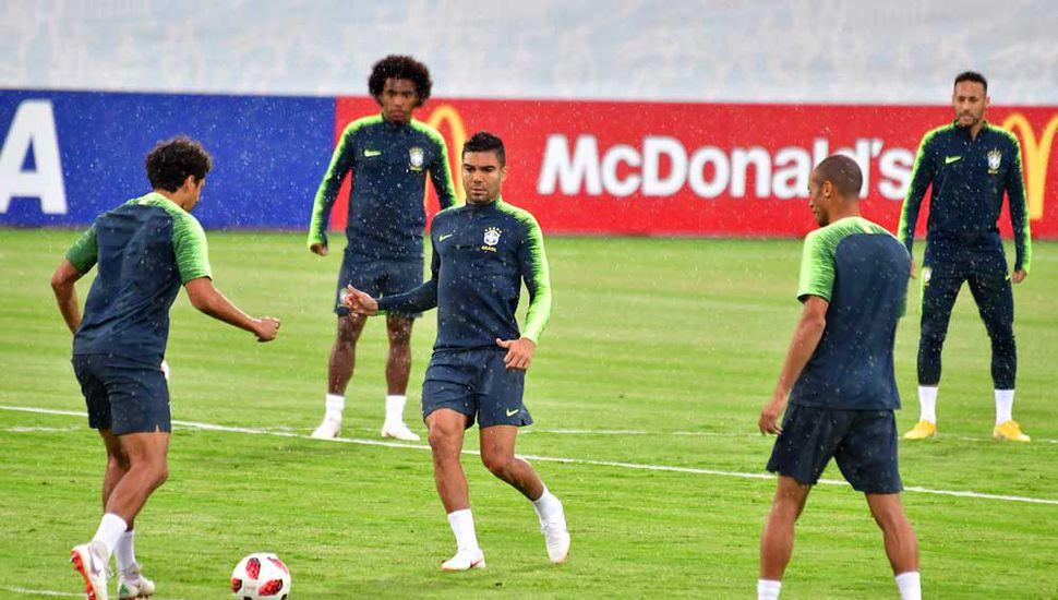 Ayer, en el último entrenamiento de Brasil.
