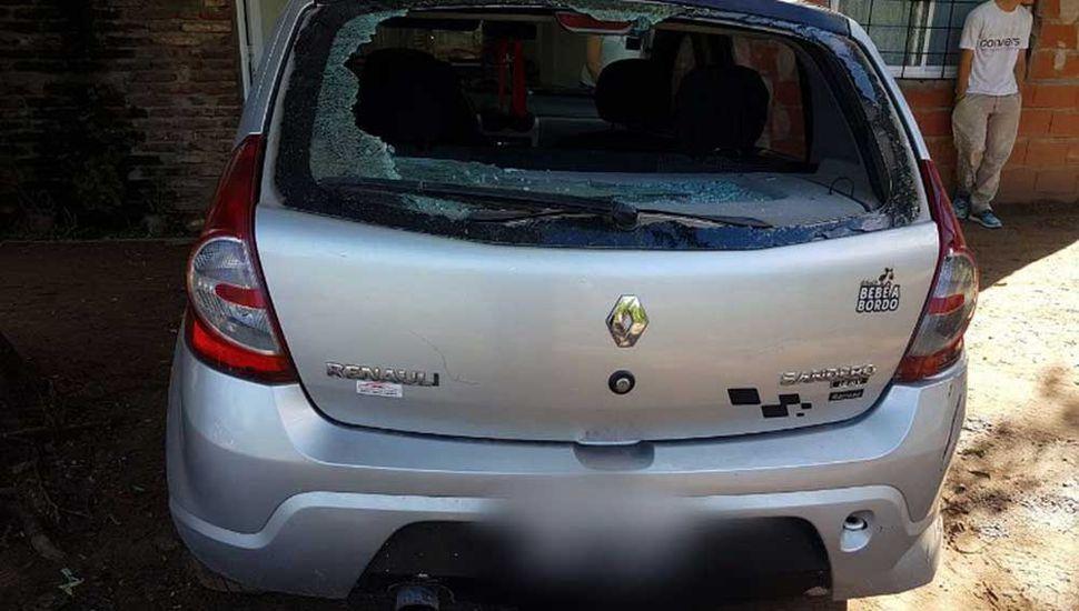 El automóvil con el que fue atropellado Chevez.