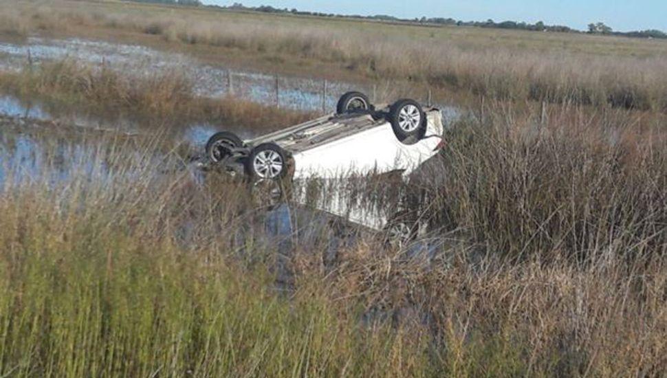 Un automóvil volcó tras chocar con un carpincho