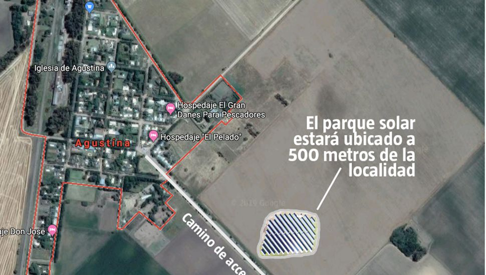 El parque solar en Agustina estará ubicado en el acceso y a 500 metros de la localidad