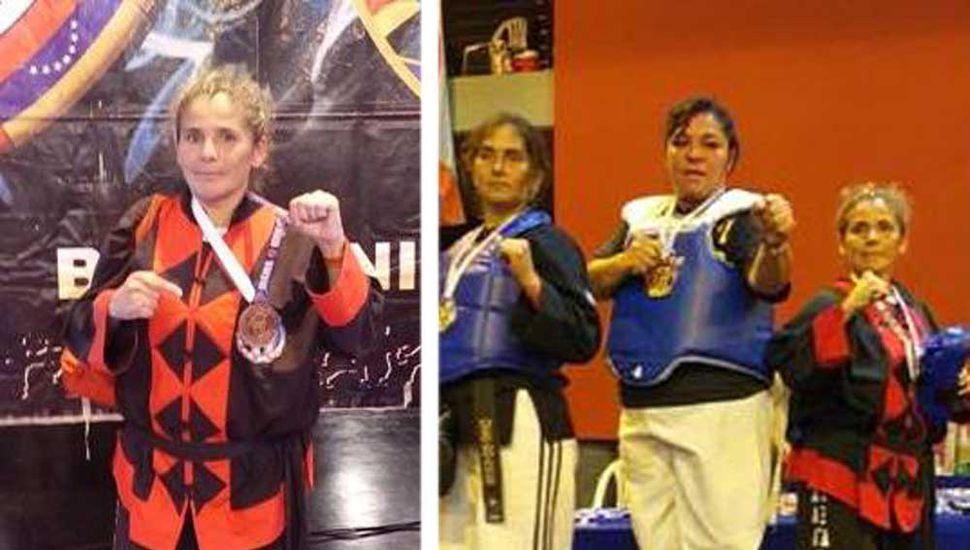 Mabel Goicochea en un torneo internacional de Kem-Po