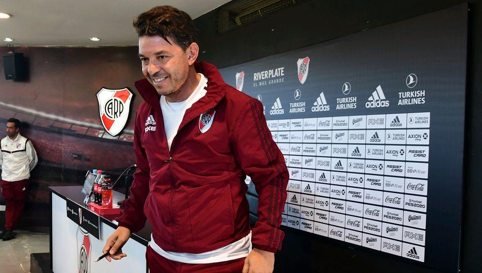 Marcelo Gallardo, ayer, en conferencia.