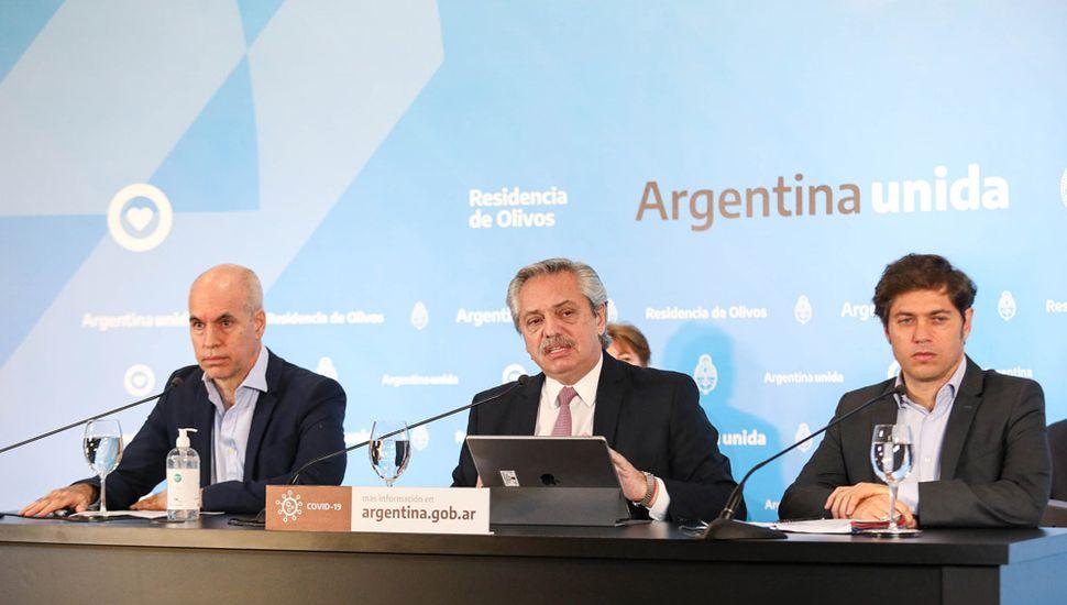 Alberto Fernández dio el discurso junto a Axel Kicillof y Horacio Rodríguez Larreta.
