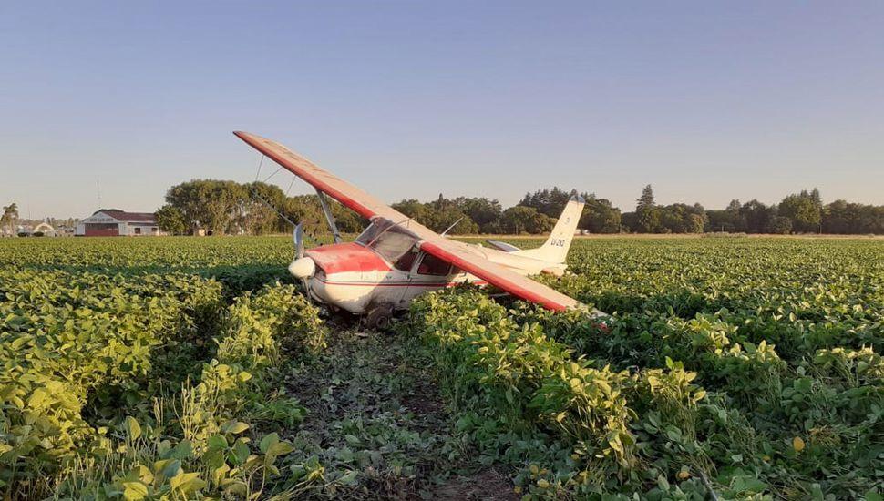 El avión Cessna 180 terminó en un campo de soja.