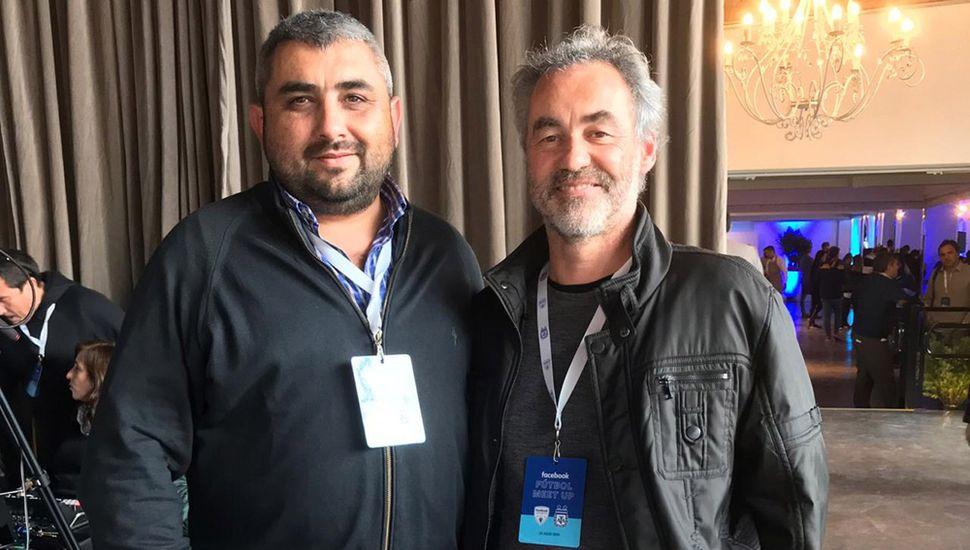 David Forconi Bearzoti (LDO) junto a Juan Pablo Costa, de la Federación de Fútbol Bonaerense Pampeana (derecha) de la jornada sobre redes sociales.