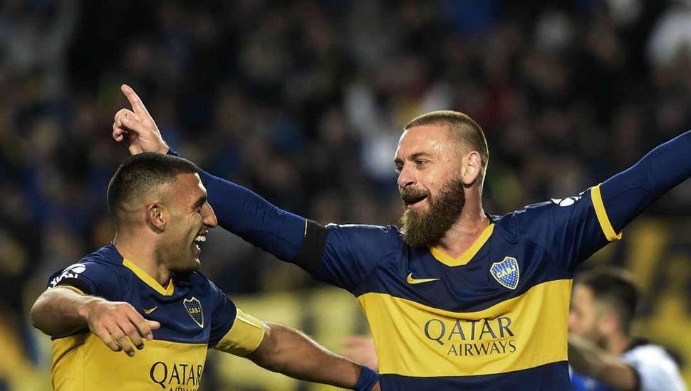 Daniele De Rossi debutó en Boca con un tanto ante Almagro.