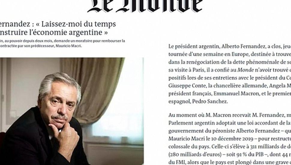 La entrevista de Le Monde al presidente Alberto Fernández.