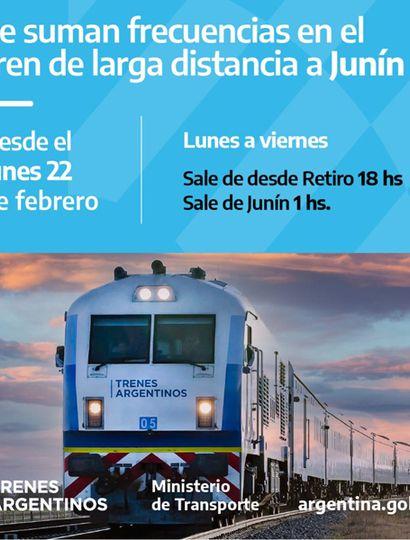 Desde mañana, el tren entre Junín y Retiro vuelve a tener cinco frecuencias semanales