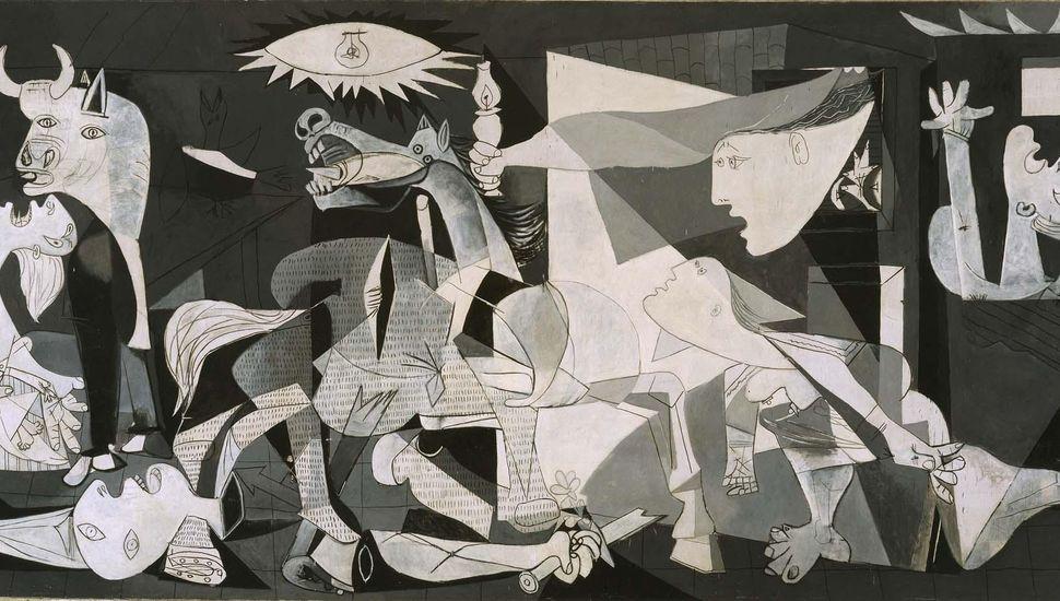 """""""Guernica"""", el famoso mural del pintor malagueño Pablo Picasso, en el museo reina Sofía de Madrid."""