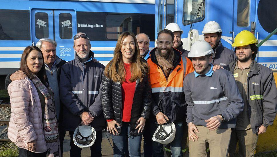 De la visita también participaron el presidente de Trenes Argentinos Operaciones, Marcelo Orfila; y María Luján Rey.