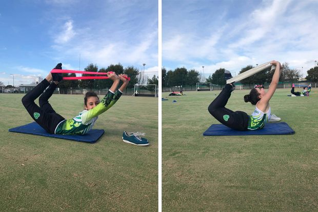 La profesora Laura Zabala regresó con las clases de  gimnasia aeróbica deportiva
