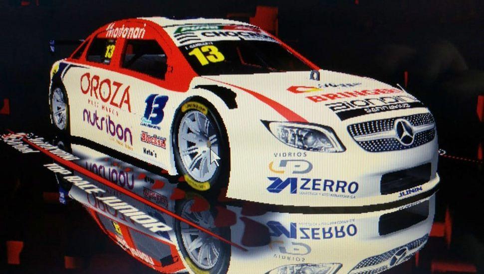 El auto del juninense Lucas Gambarte, que finalizó vigésimo en la primera carrera del Top Race Juniors eSports.