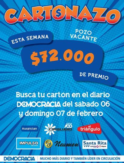 Cartonazo: el pozo para esta semana es de 72 mil pesos en efectivo