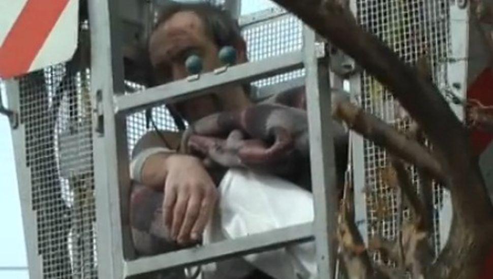 Video: operario de Chacabuco tuvo que ser rescatado por bomberos