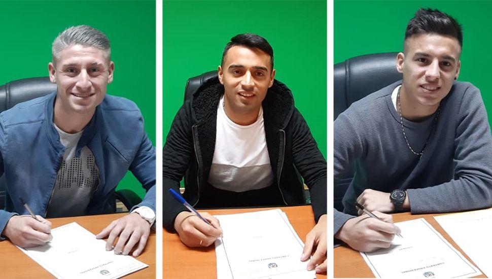Fernando Núñez, Francisco Molina y Claudio Pombo. (Fotos: Prensa Sarmiento)