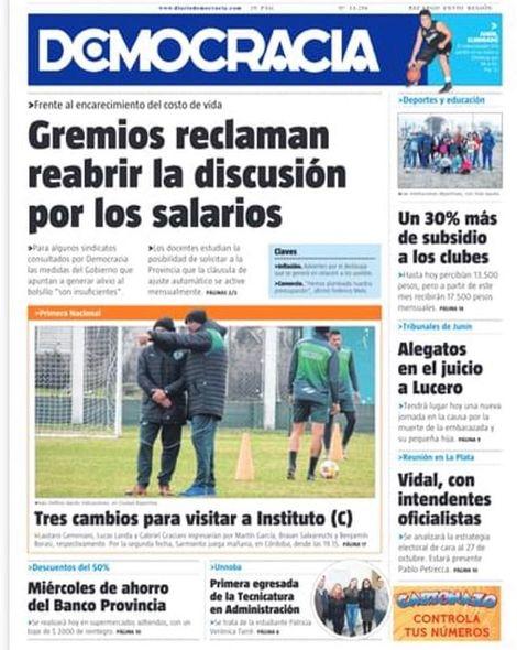 La tapa del miércoles 21 de agosto de 2019 . . #diariodemocracia #junin