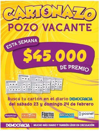Cartonazo con pozo recargado: el premio de esta semana es de 45 mil pesos