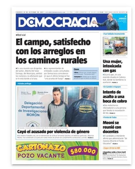 La tapa del viernes 19 de octubre de 2019 . . #junin #diariodemocracia