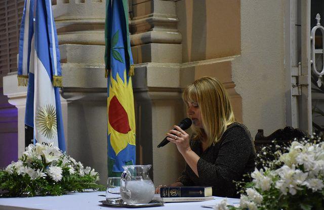 Erica Revilla, durante su discurso.