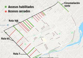 Desde hoy cierran calles de la ciudad y solo quedan seis accesos habilitados