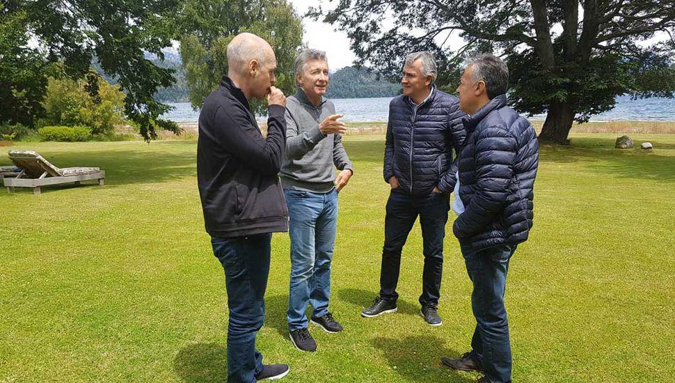 Rodríguez Larreta, Macri, Morales y Cornejo, ayer en Neuquén.