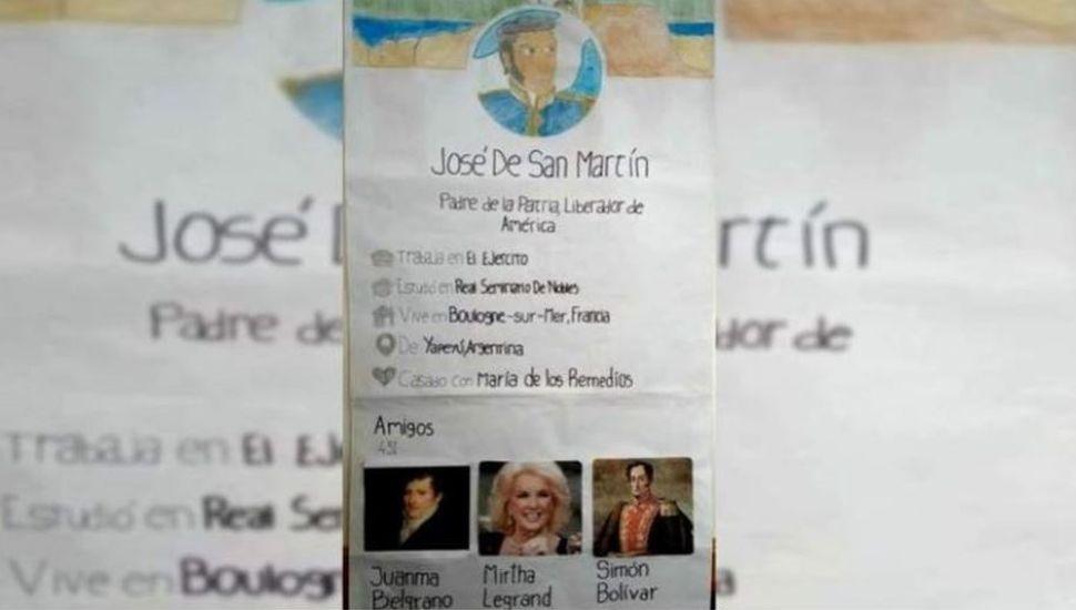 Tarea viral: alumnos crearon en papel un desopilante perfil de Twitter de San Martín