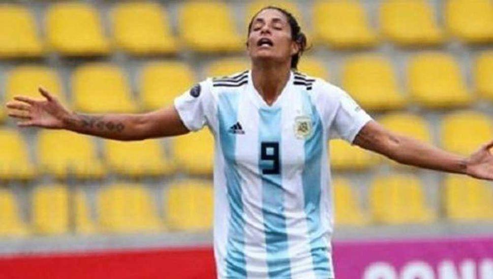 La entrerriana Soledad Jaimes, centrodelantera de la Selección Argentina de fútbol femenino.