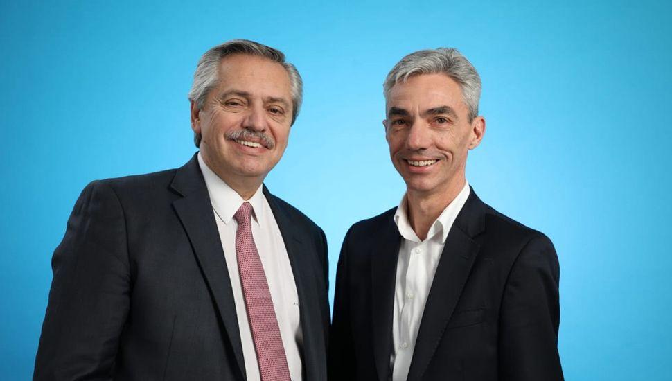 Alberto Fernández, con el candidato local, Mario Meoni.