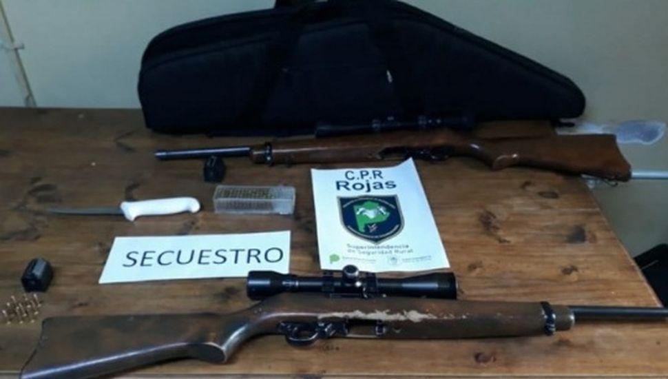 Dos aprehendidos por tenencia ilegal de armas en Rojas