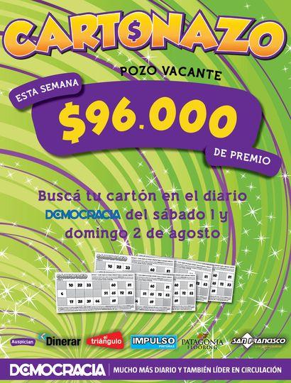 Cartonazo: el pozo para esta semana es de 96 mil pesos