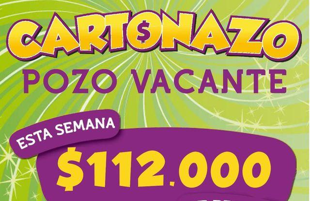 El Cartonazo viene con pozo récord: el premio es de 112 mil pesos