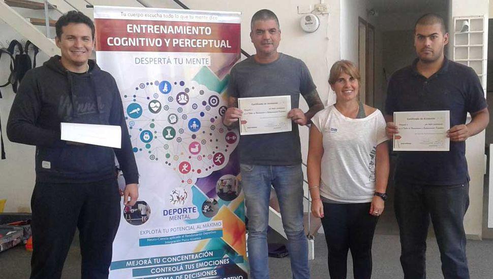 Nicolás Ismael Díaz (izquierda), Juan Manuel Martini, Valerio Becerra y Silvana Espila tras la jornada sobre