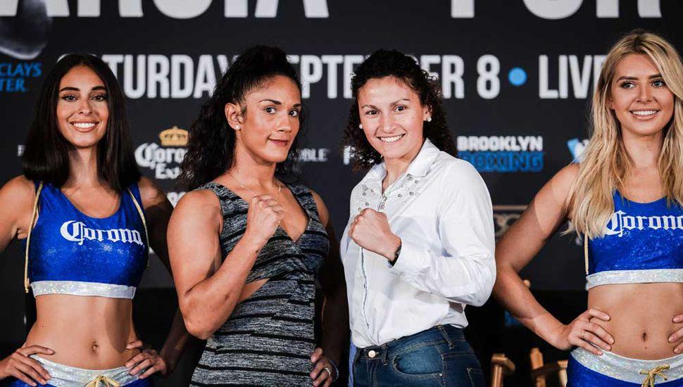 Amanda Serrano (izquierda) y la pugilista de General Villegas, Yamila Reynoso, quien tendrá hoy su gran chance mundialista.