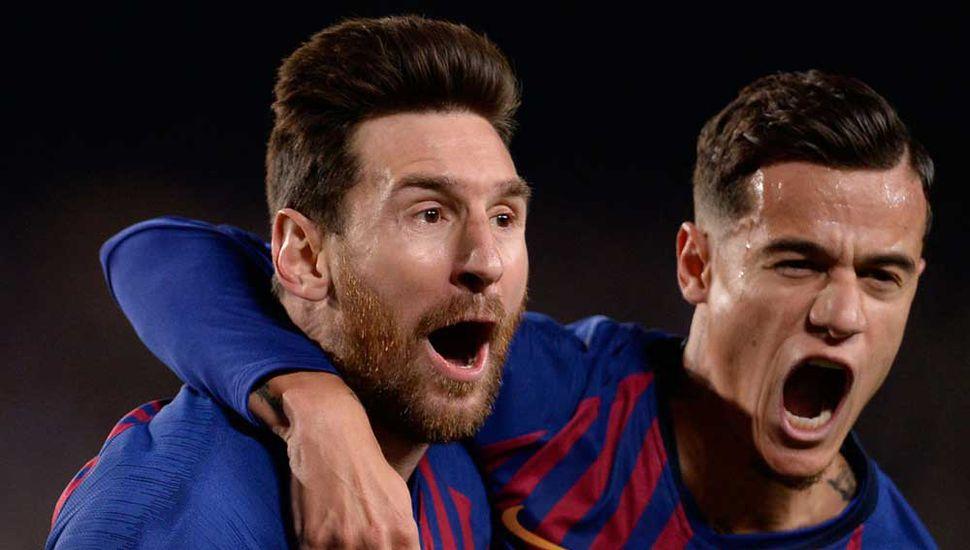 Lionel Messi festeja. Brilló y anotó dos goles en el triunfo por 3 a 0 que logró el Barcelona, clasificado semifinalista de la Copa de Campeones de Europa 2019.