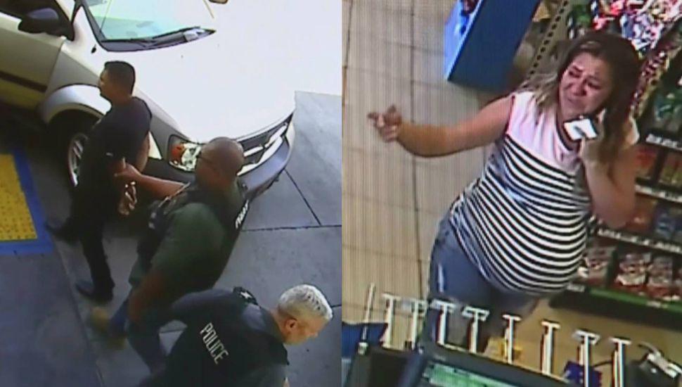 La policía detiene a un hombre cuando llevaba a su mujer al hospital en California