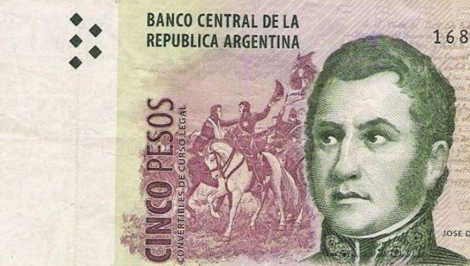 En febrero dejará de circular el billete de cinco pesos