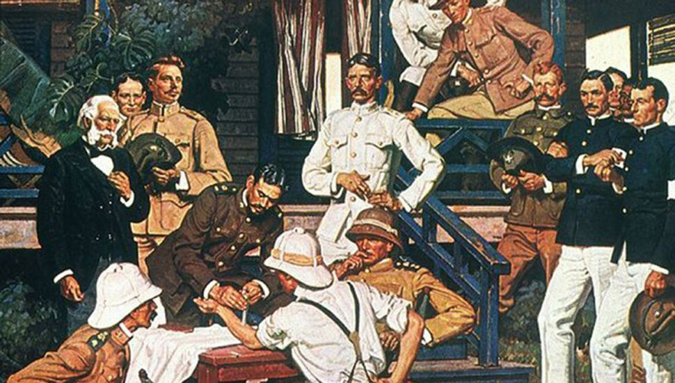"""La pintura de Dean Cornwell """"Los conquistadores de la Fiebre Amarilla""""."""
