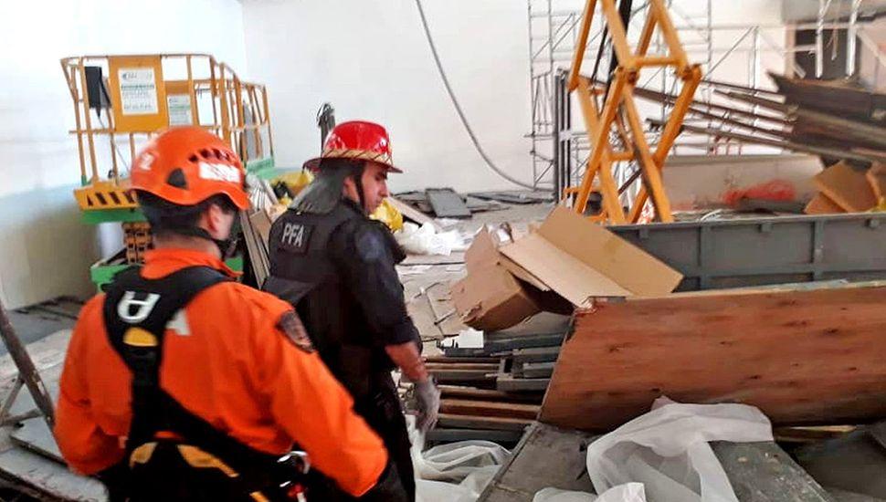 Derrumbe en obras de Ezeiza: hay un muerto y 13 heridos