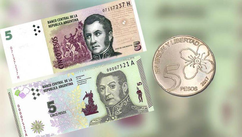Extienden la validez del billete de 5 pesos hasta el 30 de septiembre