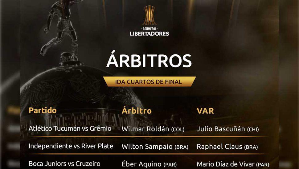 Los cuartos de final de la Copa Libertadores ya tienen árbitros
