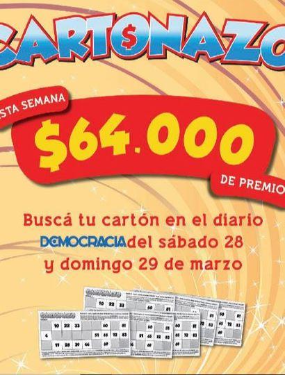 Cartonazo sigue premiando a los lectores: hay un pozo de 64 mil pesos