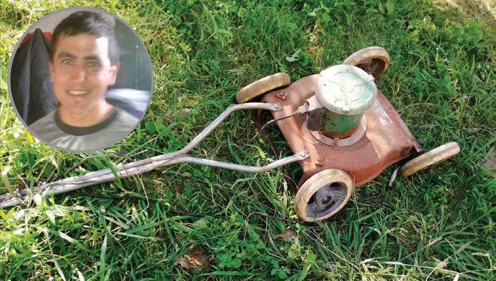 La máquina de cortar pasto fue secuestrada para fines periciales.