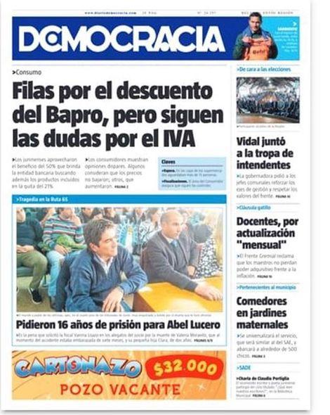 La tapa del jueves 22 de agosto de 2019 . . #junin #diariodemocracia