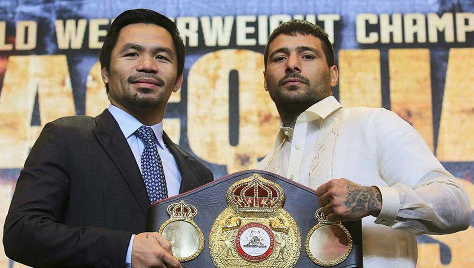 Lucas Martín Matthysse (derecha) y Manny Pacquiao se enfrentarán el 15 de julio en Malasia.