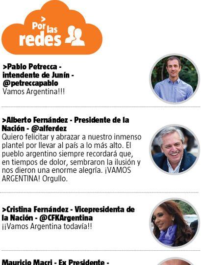 El Presidente y otros dirigentes expresaron su alegría por la consagración de Argentina